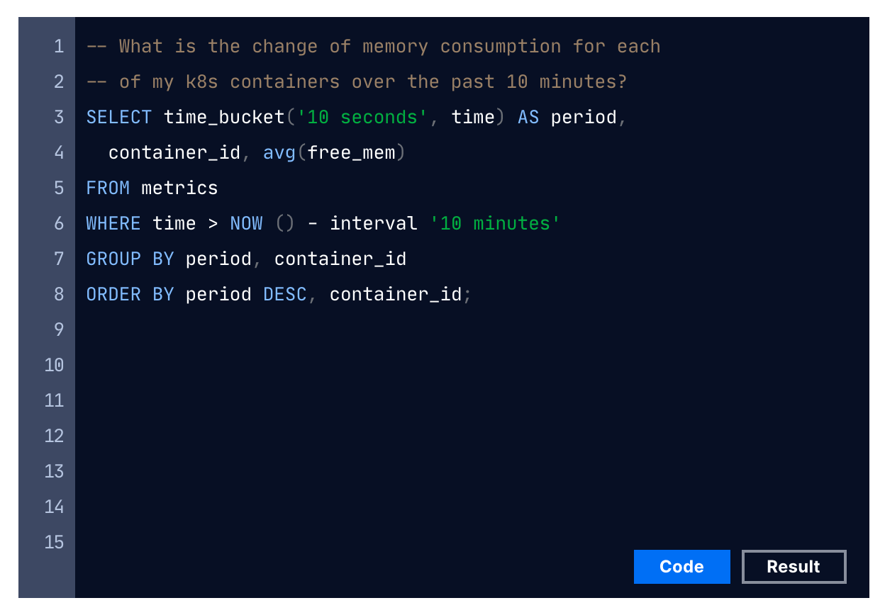 Example timescale query
